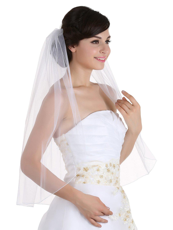 1T 1 Tier Pencil Edge Bridal Wedding Veil - Ivory Elbow Length 30