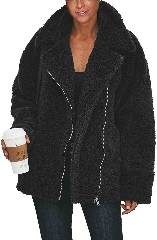 Selowin Women Coat Fleece Fuzzy Faux Sherpa Pocket Winter Cardigan Outwear Jacket