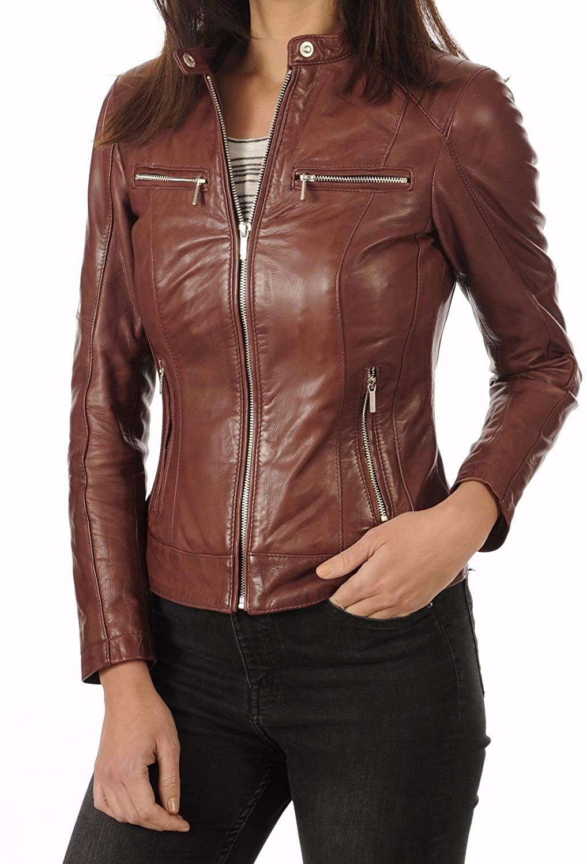 Benjer Skins Women's Leather Jacket Stylish Motorcycle Biker Genuine Lambskin 11