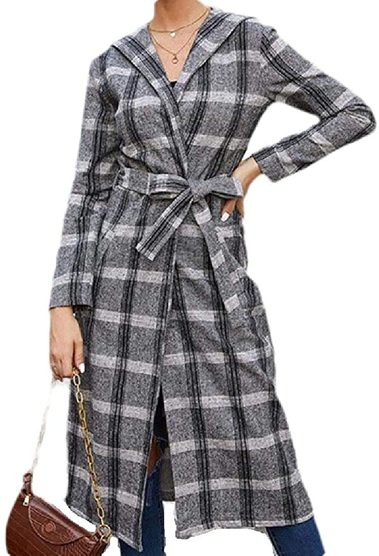 Women Pea-Coat Long-Sleeve Fashion Plaid Loose Long Pea Coat