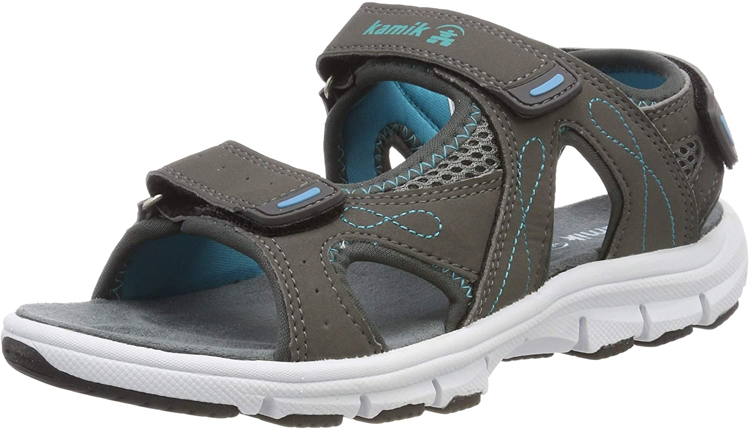 Kamik Women's Low-Top Sneakers Ankle Strap Sandals, Grey Charcoal Cha, 8 US