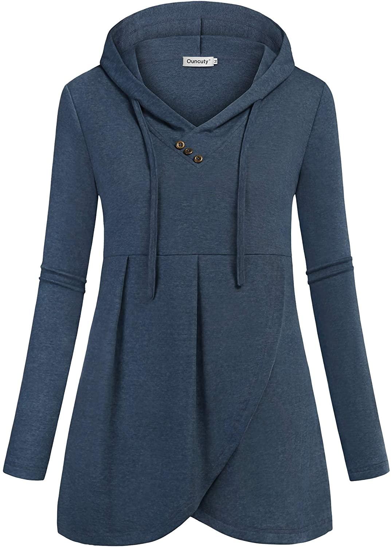 Ouncuty Women Hoodies Long Sleeve V Neck Dressy Pullover Tunic Blouse Sweatshirt