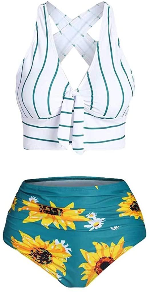 Vdaye Women Sexy Two Piece Push-Up Padded Plus Size Overlay Sunflower Print Bikini Set Swimsuit Swimwear