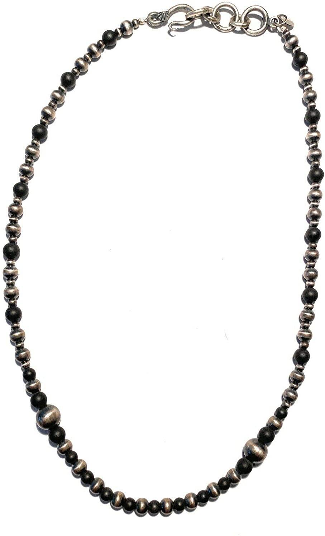 Nizhoni Traders LLC Navajo Onyx Sterling Silver Navajo Pearl Beaded Necklace