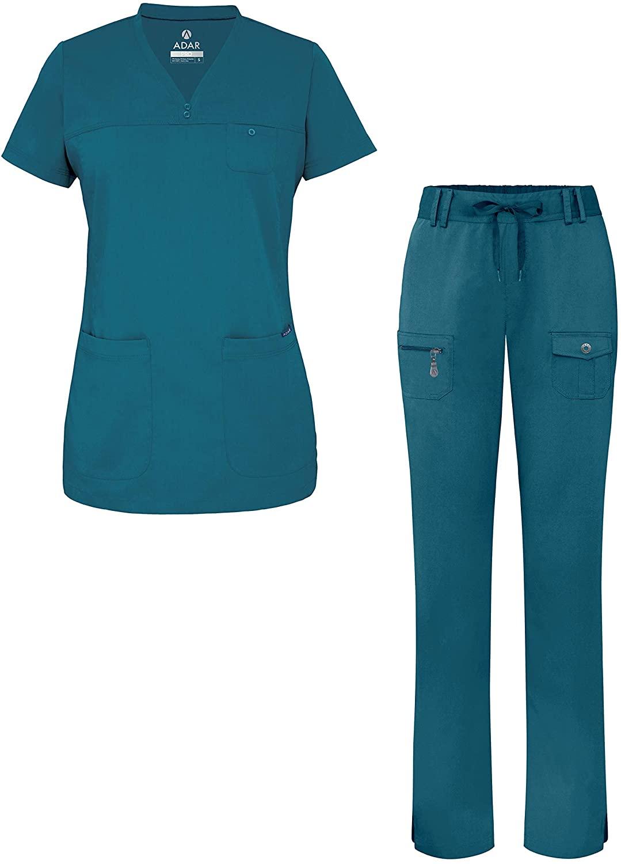 Adar Pro Everyday Expert Scrub Set for Women - Curved V-Neck Scrub Top & Tapered Drawstring Scrub Pants