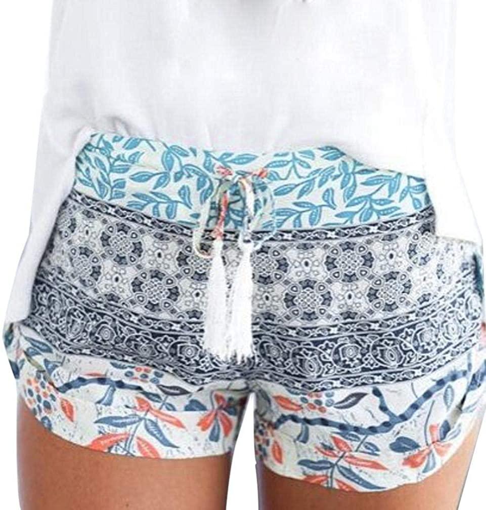 Gergeos Women's Summer Bohemian Beach Shorts High Waist Elastic Band Loose Casual Shorts
