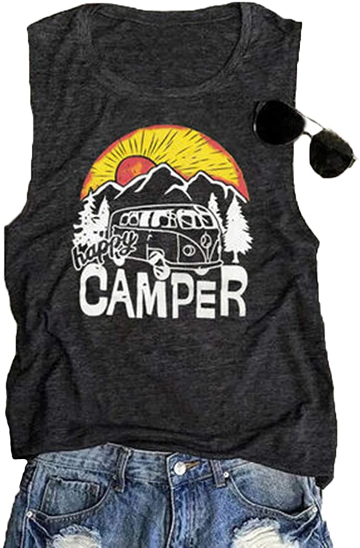 Amiawen Women's Happy Camper Vest Adventure Camping Sleeveless Tops Hiking Vacation Tank Tops Mountain Graphic Tees