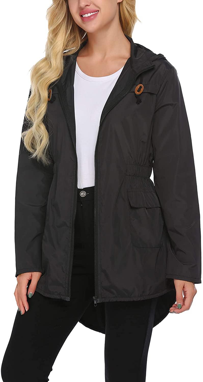 Beyove Womens Outdoor Waterproof Lightweight Windbreaker Raincoat Hooded Rain Jacket Black XL