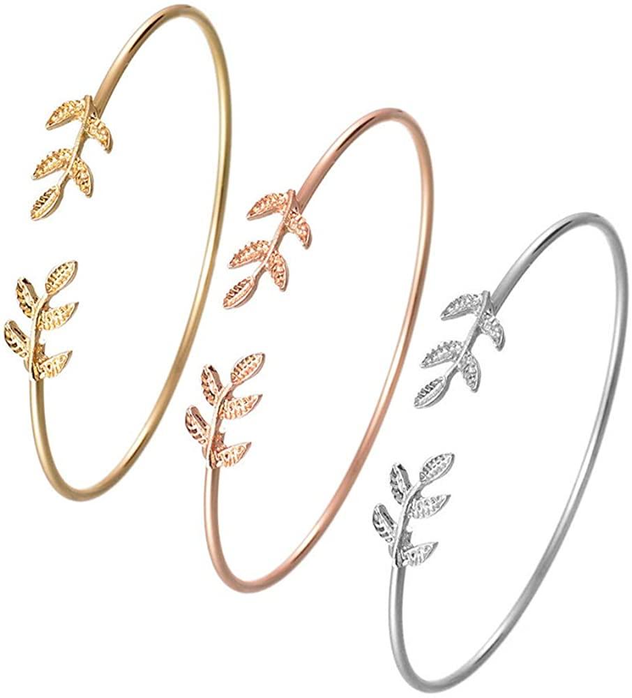 BELUCKIN Chic 3 PCS Olive Leaf Branch Wire Bangle Adjustable Open Cuff Bracelet for Women