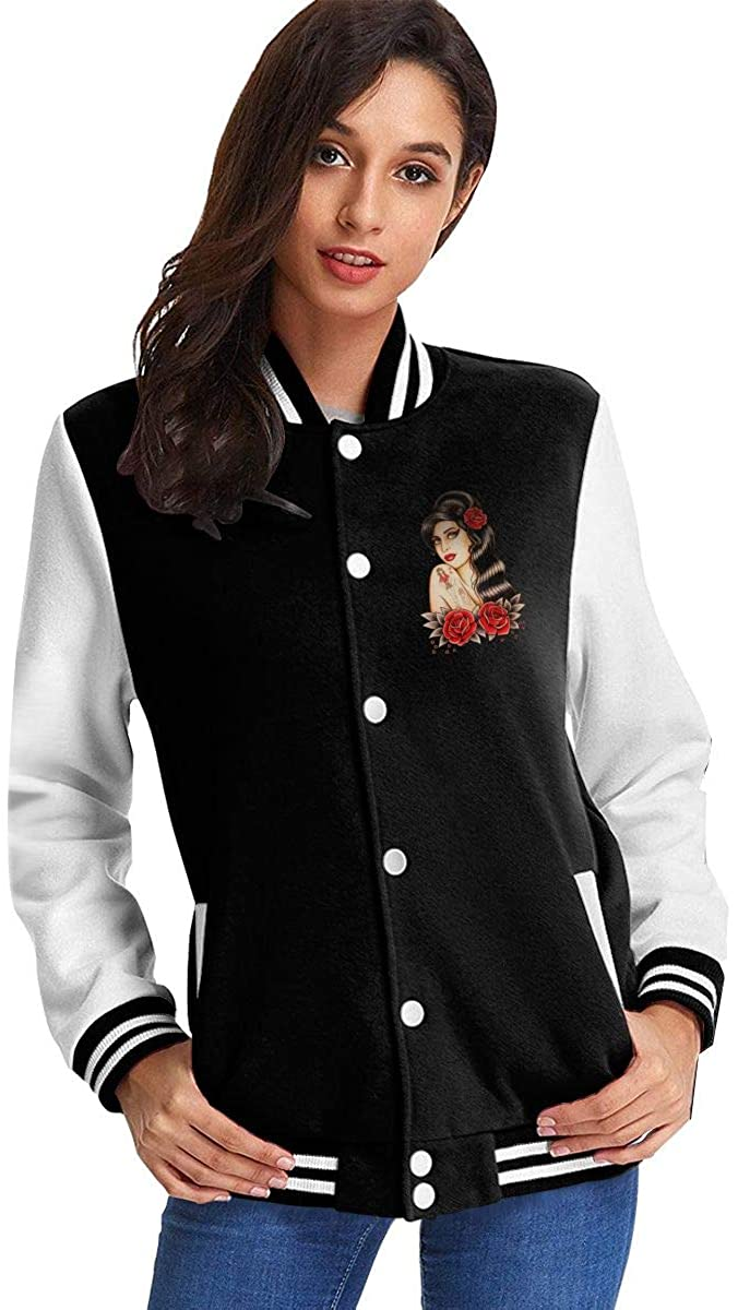 Vonicap Amy Winehouse Women's Stand Collar Casual Jacket Baseball Button Jacket Coat Sweater