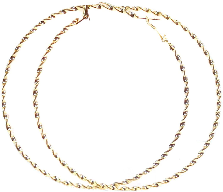 Large Hoop Earrings Twist Hoop Earrings Gold Tone Hoop Earrings 3.5 Inch
