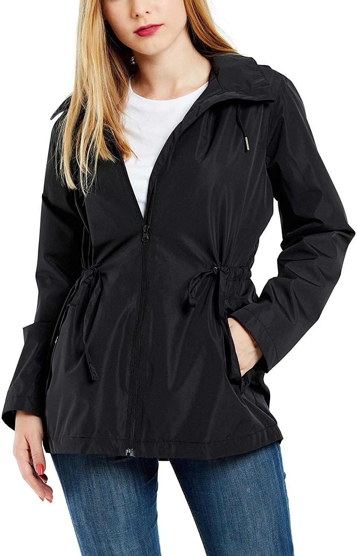 GG Golooper Womens Rain Jacket Waterproof Light Jacket Fall Mesh Lining Raincoat (Black,M)