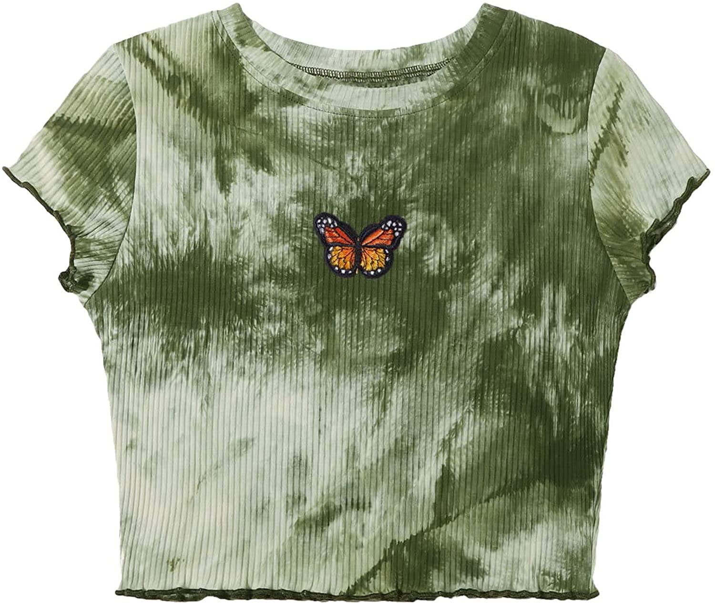 SweatyRocks Women's Lettuce Trim Ribbed Knit Short Sleeve Crop Top T-Shirt