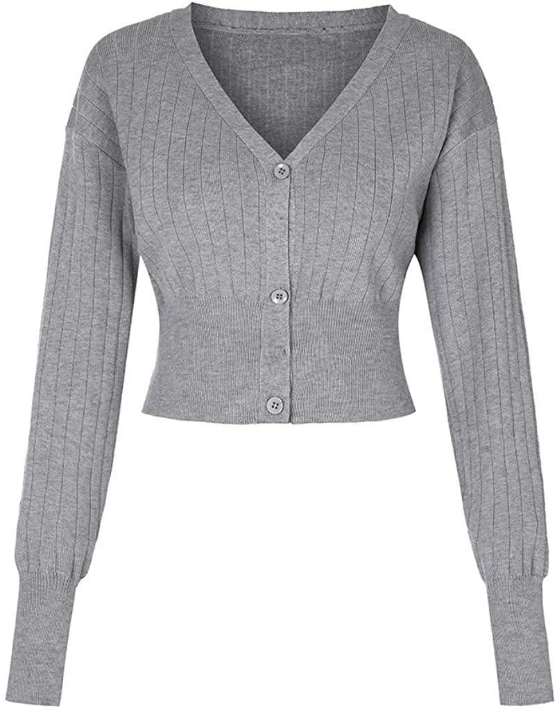 Shrugs Sweater Women, NRUTUP V Neck Crop Cardigan, Knit Jumper with Button, Elegant Sophisticated Office Work Jacket
