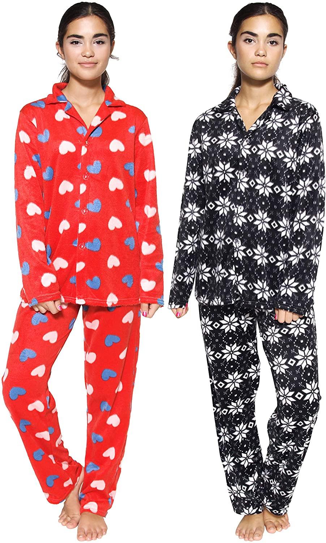 Real Essentials 2 Women's Pajama Sets – Warm Fleece Button Down Long Sleeve Loungewear Sleepwear