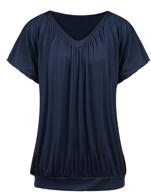 IN'VOLAND Women Plus Size Blouse Short Sleeve V Neck Blouse Dolman Top Shirt