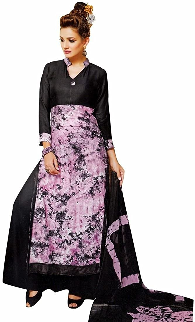 ladyline Bollywood Tie Dye Salwar Kameez with Palazzo Pants- Embroidered