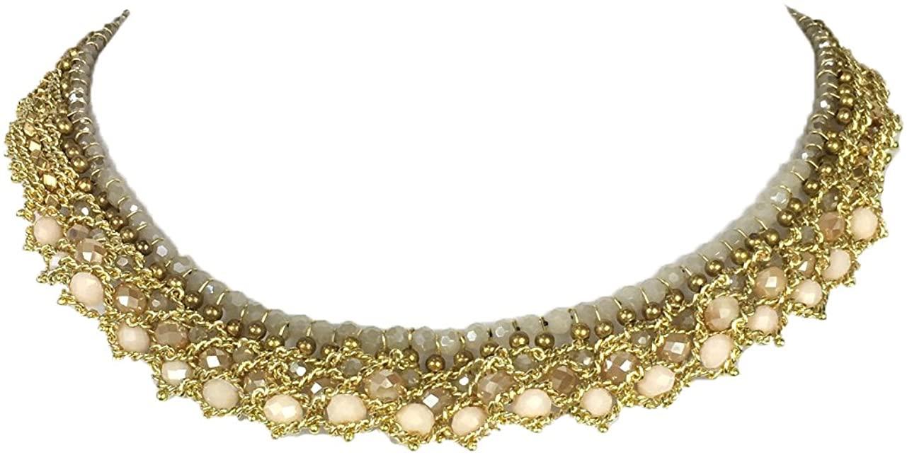 nakamol Ravi Beaded Collar Necklace, Cream Multi