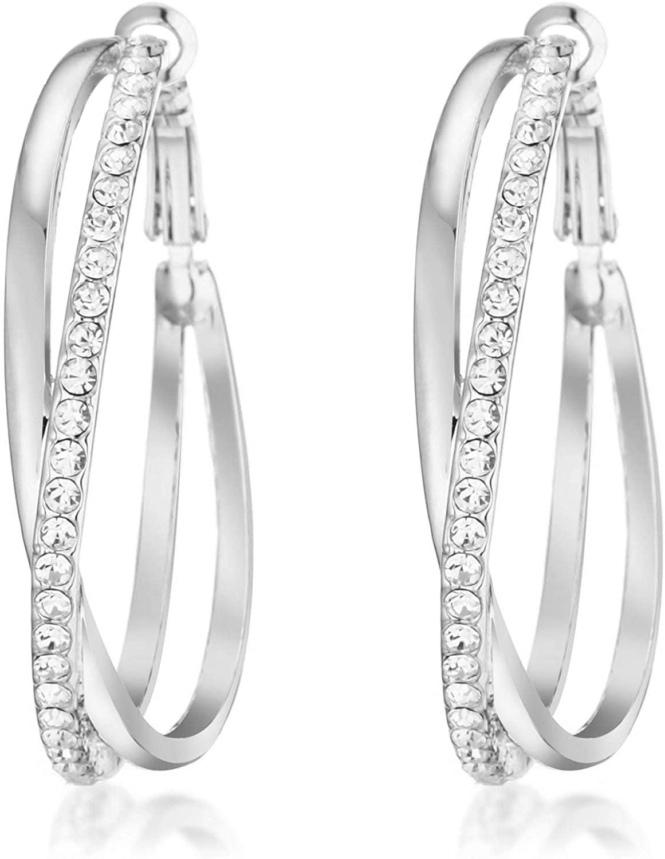 Gemini Women's Jewelry 18K Gold Filled CZ Diamond Hoop Pierced Earring for Women Valentine's Day Gifts Gm032