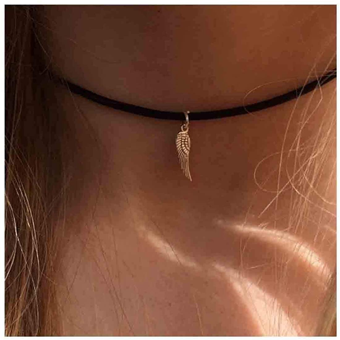 Olbye Simple Choker Gold Angel Wing Choker Necklace for Women and Girls Necklace Jewelry(Wing)