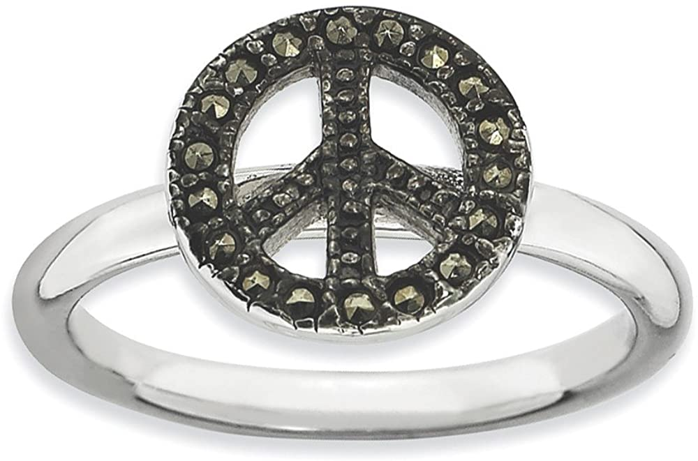 Marcasite Collection Rings Stackable Sterling Silver Stackable Expressions Marcasite Peace Sign Ring Size 9