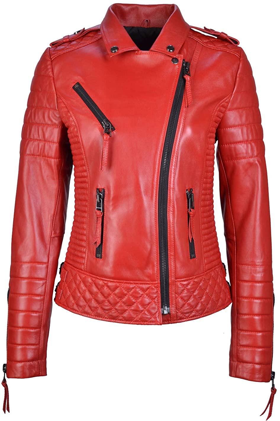 Women's Genuine Lambskin Leather Moto Jacket Red