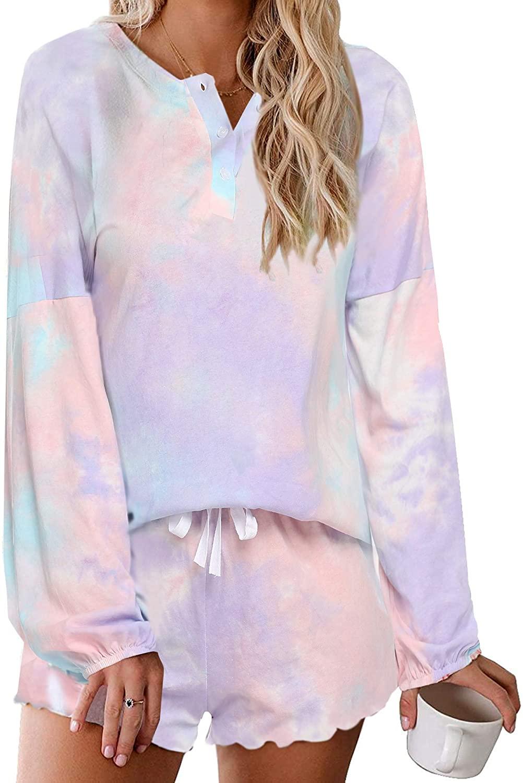 Ekouaer Tie Dye Night Shirt Women Sleepwear Pajamas Set Nightgowns Button Down Pjs Summer Lounge Wear, Medium