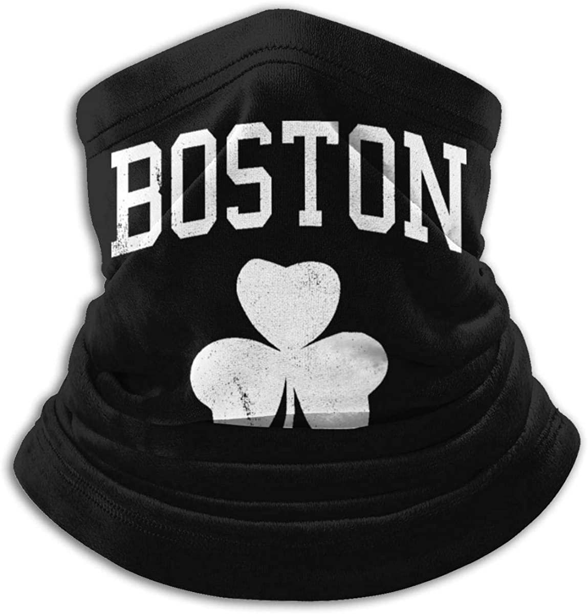 Men Women Boston Shamrock Neck Gaiter Warmer Graphic Cap Beanie Headband for Head Wrap Black
