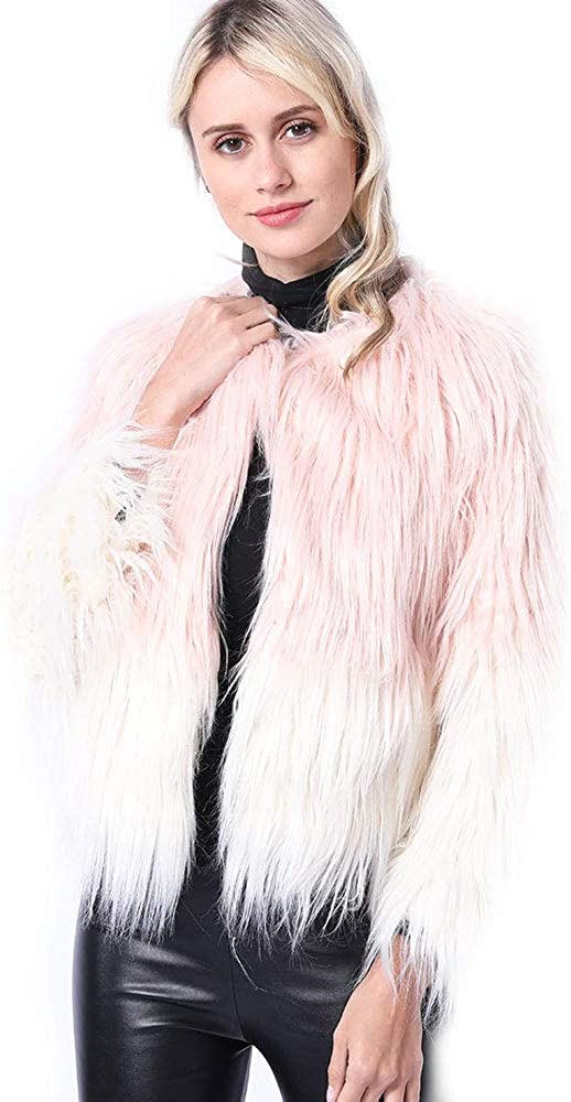 QSLLER Women's Fluffy Faux Fur Coat Long Sleeve Shaggy Short Fashionable Winter Warm Jacket