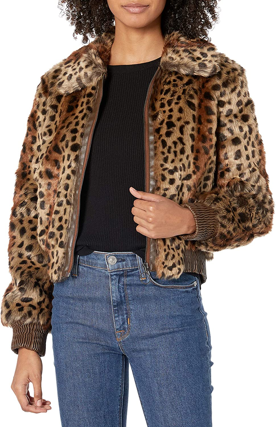 ASTR the label Womens REMY Animal Print Faux Fur Bomber Jacket