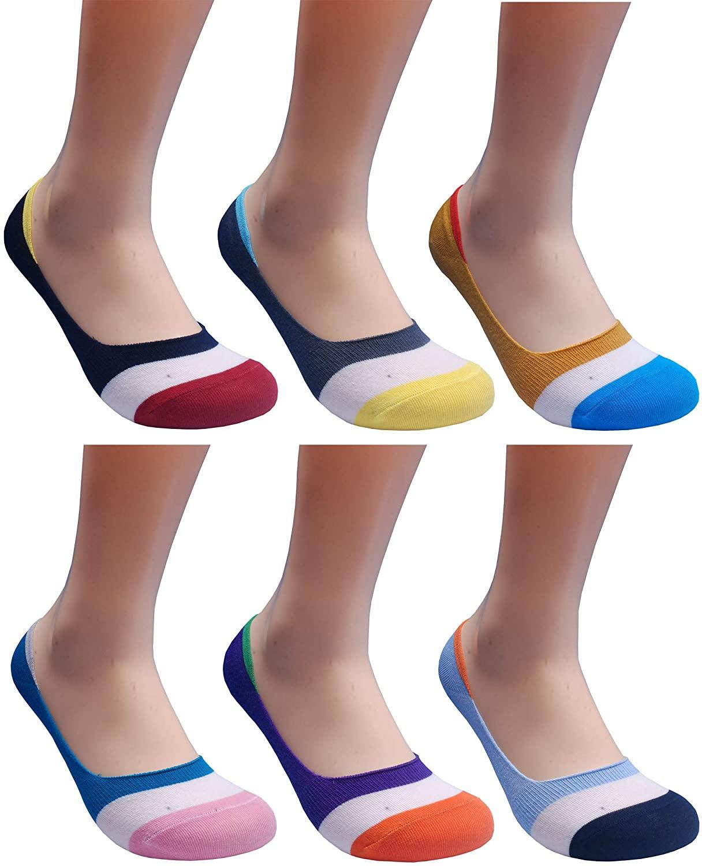 Women No Show Socks Non Slip Low Cut Shoe Liner Footies (3/4/5/6pairs Set)