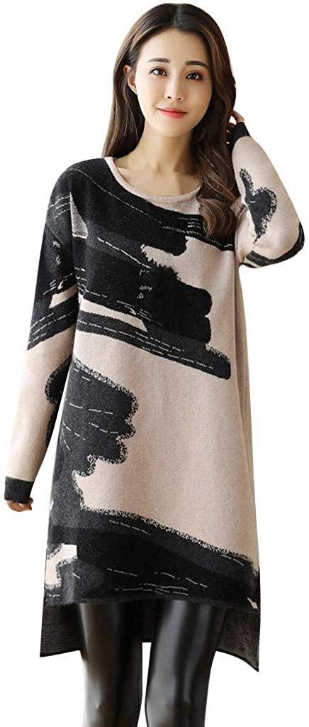 JustWin Women Loose Large Size Skirt Winter Warm Printed Velvet Thick Skirt O-Neck Straight Mini Dress