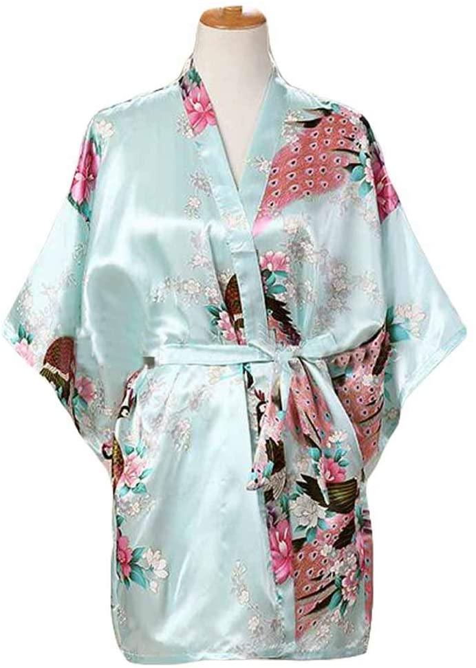 Panda Legends Light Blue-Women's Silk-Like Pajamas Short Bathrobe Kimono Robe Peacock/Blossoms