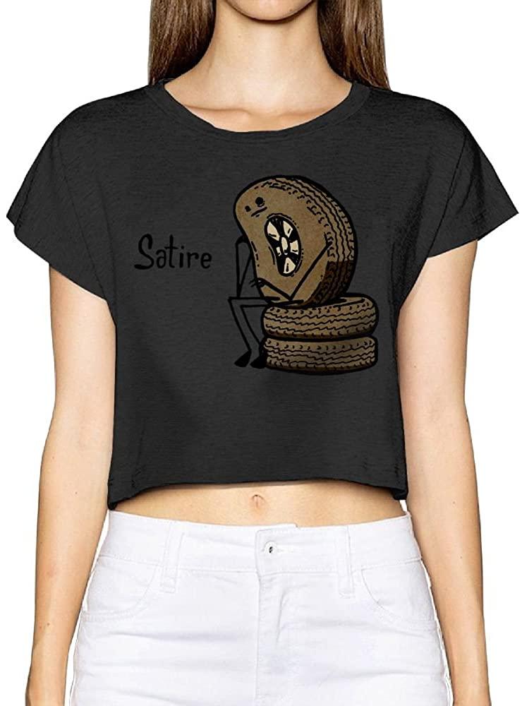 Qear Women's Satires Crop Top T-Shirts Dew Navel Shirt Black