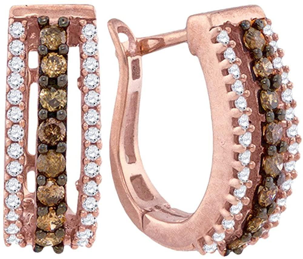 10K Rose Gold U Shape Hoop Huggie Channel Set Chocolate Brown & White Diamond Earrings (Approx. 1/2