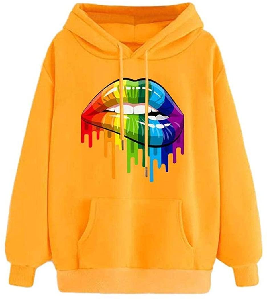 Langle Women Hooded Sweatshirt Long Sleeve Drawstring Colorful Lips Printed Outwear Fashion Hoodies