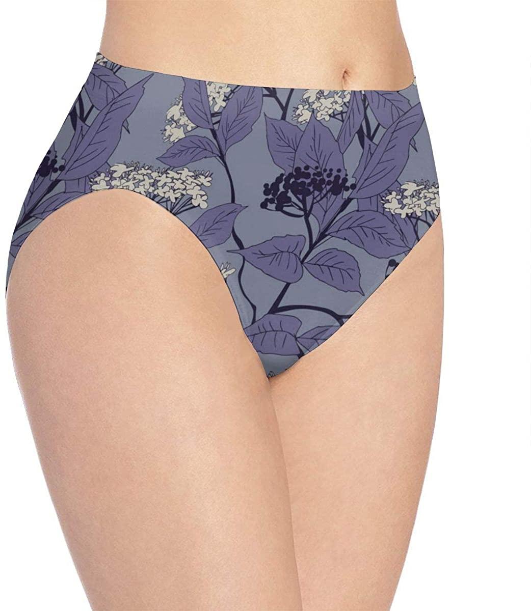 Beautiful White Flowers Womens Seamless Underwear Low Rise No Show Thong Panties