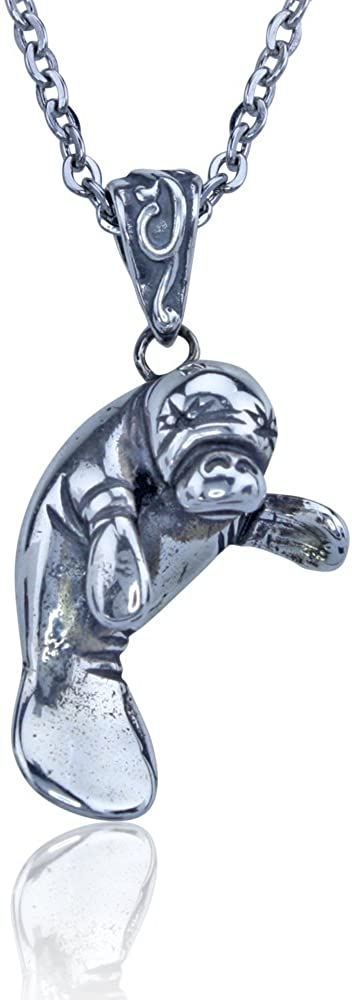 Manatee Necklace - Sterling Silver Pendant on a Durable 18 Inch Necklace Chain