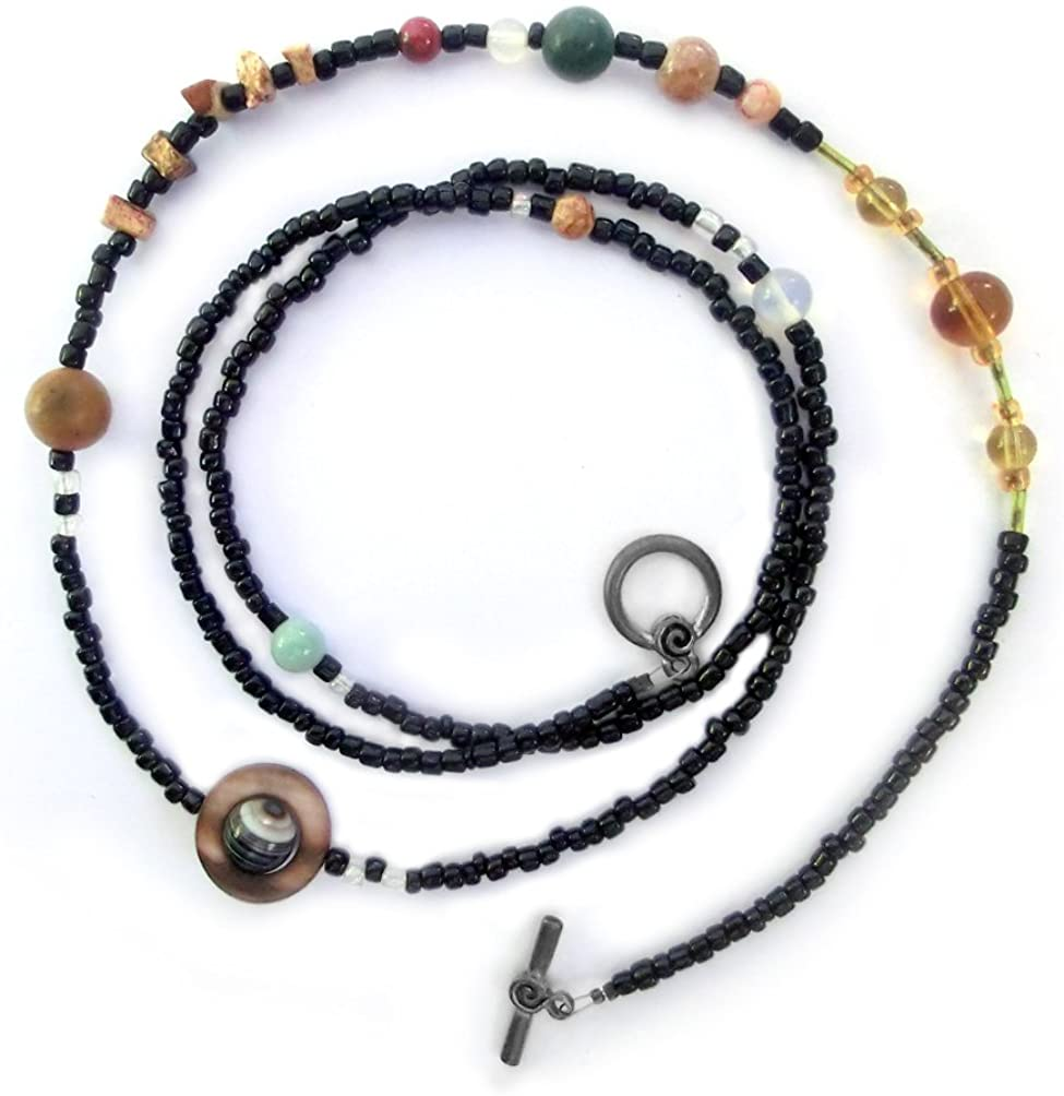 Chain of Being Solar System Necklace, Large Beads, Gemstone Planets, 38in Cosmogram 54.50