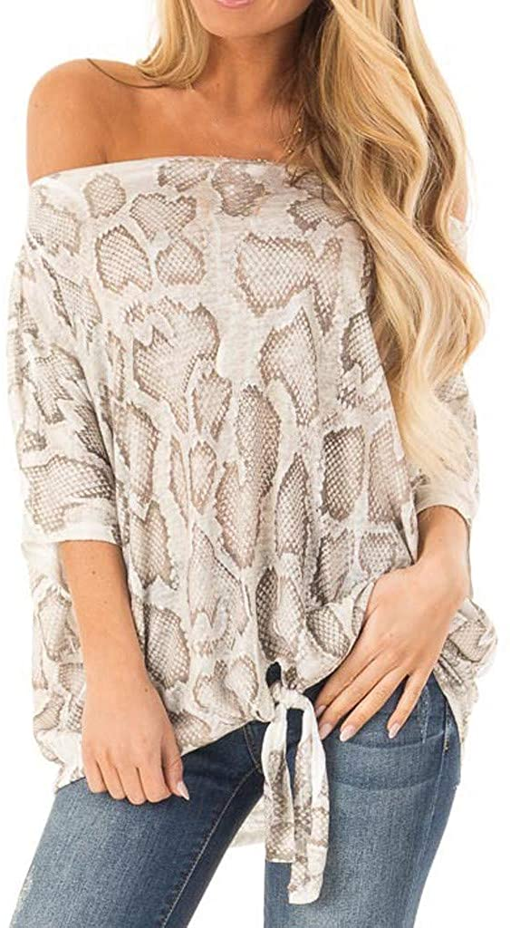 Womens Short Sleeve Off Shoulder Snake Print T-Shirt Top Casual Tie Blouse