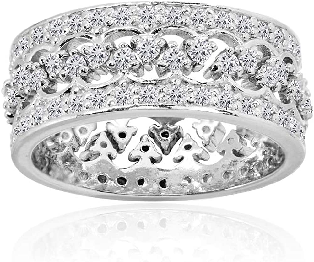 Sterling Silver Cubic Zirconia Connecting Crown Stackable Band Rings, Set of 2