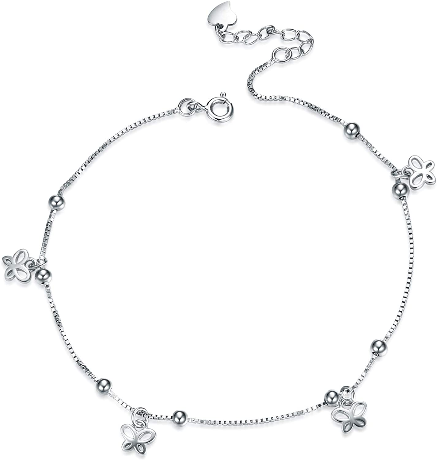 VENACOLY Butterfly Anklets Sterling Silver 925 for Woman Beach Charm Foot Chains Adjustable Jewelry for Women