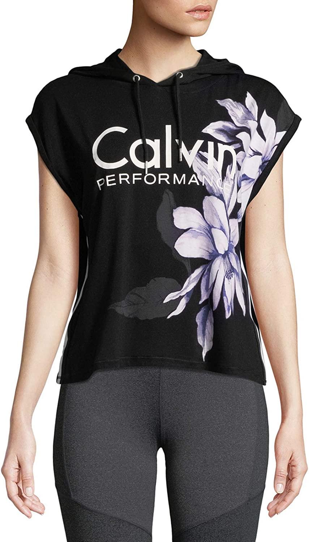 Calvin Klein Performance Floral-Print Sleeveless Cropped Hoodie, Purple Rain, X-Large