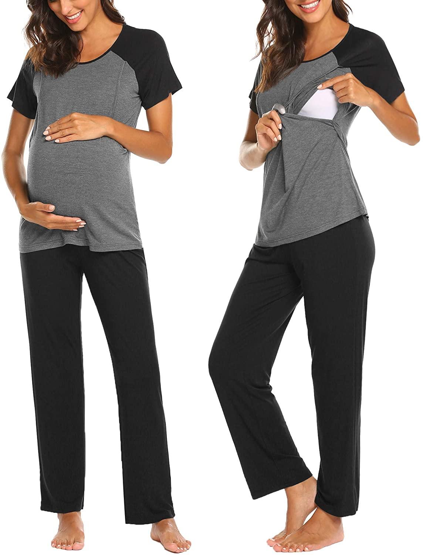 Ekouaer Maternity Pajama Sets 3 in 1 Labor Delivery Nursing PJS Hospital PJ Set Pregnancy Breastfeeding Sleepwear