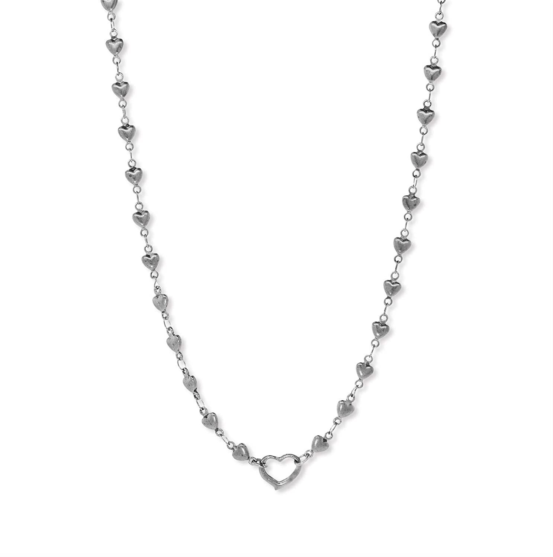 1928 Jewelry Silver or Gold Tone Heart Chain Charm Holder 16 Adj