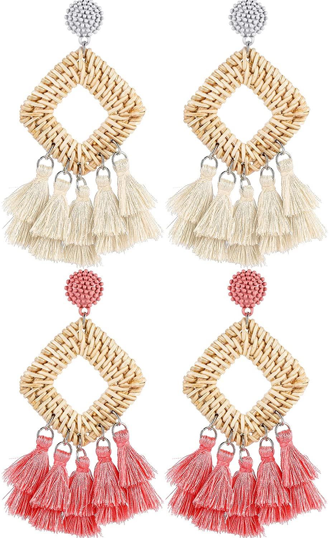 2 Pairs Rattan Tassel Earrings Bohemian Statement Woven Dangle Fringe Earrings Ethnic Tassel Drop Earrings Vintage Jewelry for Women Girls (White and Pink)
