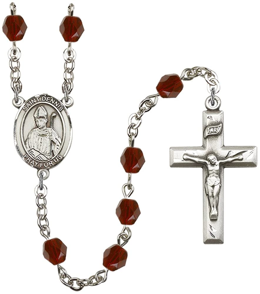 Silver Plate Rosary features 6mm Garnet Fire Polished beads. The Crucifix measures 1 3/8 x 3/4. The centerpiece features a St. Dennis medal. Patron Saint Headaches/Against Frenzy