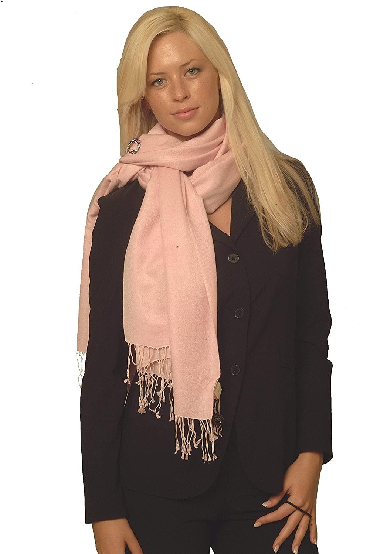 Cashmere Pashmina Group: Solid Pashmina Shawl, Scarf, Wrap & Stole(Regular size) (POWDER PINK)
