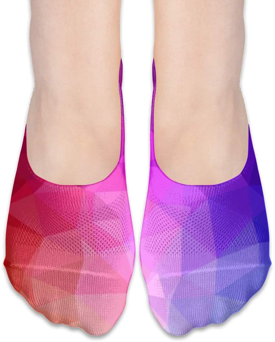 FriendEver No Show Socks,Red Blue Style Casual Invisible Flat Socks,Breathable Anti-Odor Low Cut Women Cotton Sox,Non Slip Liner Sock