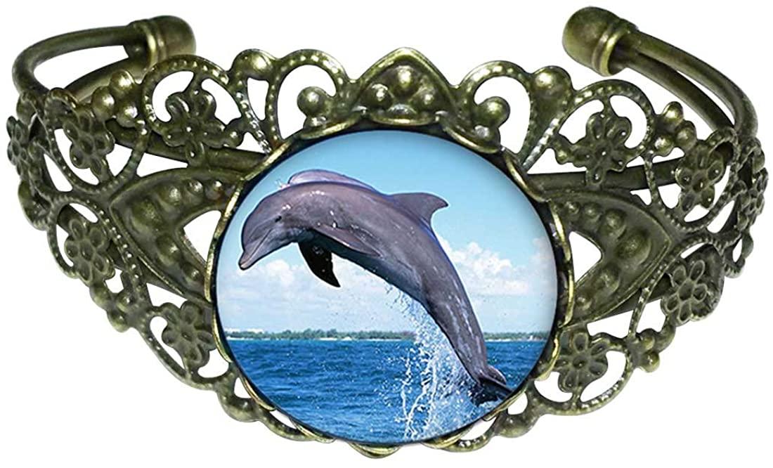 GiftJewelryShop Bronze Retro Style Cute Jump Dolphin Flower Cuff Bangle Bracelet Fashion Jewelry